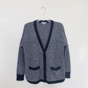 Madewell Contrast Button Front Cardigan 100% Wool